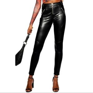 NWT Topshop Black Faux Leather Trousers Size 8
